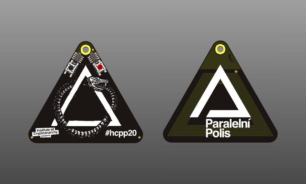 Front and back sides of the HCPP 2020 badge, artist rendering